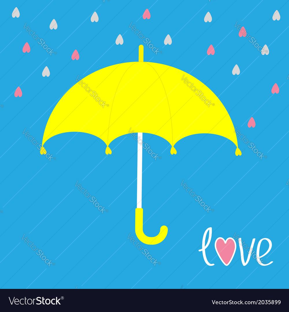 Yellow umbrella rain in shape of hearts love card vector | Price: 1 Credit (USD $1)