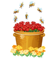 A basket of red roses with bees vector