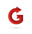 Letter g arrow ribbon logo icon design template vector
