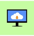 Flat style computer with cloud downloading vector