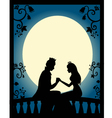 Lovers at night vector