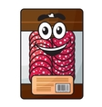 Cartoon meat chopped sausage in package vector