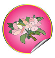 Apple flower sticker purple vector
