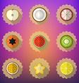 Fruit flat icon set include apple lemon papaya vector