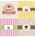 Vintage cupcake cards set vector