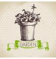 Vintage sketch gardening background vector