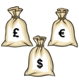 Money bags with dollars euro and pound vector