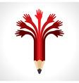 Helping hands make pencil vector