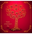 Gold valentines day tree forged with hearts vector