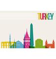 Travel turkey destination landmarks skyline vector
