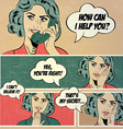 For comic books with retro woman in pop art style vector