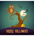 Owl sitting on tree in scary halloween night vector