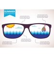 Summer infographics sunglasses with ocean view vector