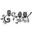 Three owls on ornate branch vector