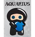 Zodiac sign aquarius with cute black ninja vector
