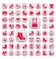 Big red fashion icons set vector