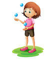 A girl juggling vector
