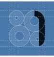 Round engineering font symbol 1 vector