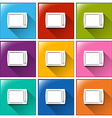 Square buttons with televisions vector
