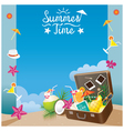 Suitcase with summer objects on the beach frame vector