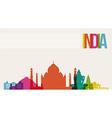 Travel india destination landmarks skyline vector