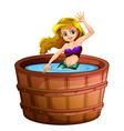 A mermaid taking a bath at the bathtub vector