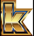 Golden font letter k vector