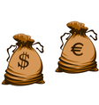 Vintage brown money bags with euro and dollar vector