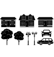 Black icons of houses trees and machines vector