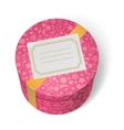 Pink decorated birthday gifts box with yellow vector