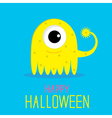 Cute cartoon yellow monster girl happy halloween vector