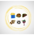 Set color sketches icons of food vector