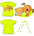 Kid shirt with cute cat and dog printed - isolated vector