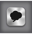 Brain icon - metal app button vector