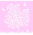 Blooming tree and birds vector