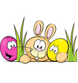 Bunny peeking from behind the desk with cute eggs vector