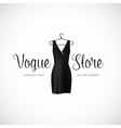 Fashion vogue store logo template with black dress vector