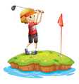 An island with a boy playing golf vector