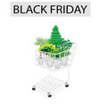 Green trees and plants in black friday shopping vector
