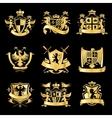 Heraldic golden emblems vector