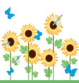 Sunflowers-with-diferent-insects vector