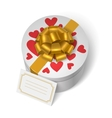Valentines present box with red hearts vector