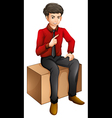 A man sitting on a wooden bench vector