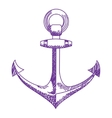 Anchor icon nautical isolated white purple vector