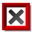 Red negative checkmark vector