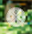 Save planet badge with blured ecology background vector