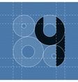 Round engineering font symbol 4 vector