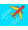 Colorful airplane flying right up leaving vector