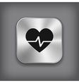 Cardiology icon - metal app button vector
