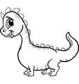 Cartoon dragon character coloring page vector
